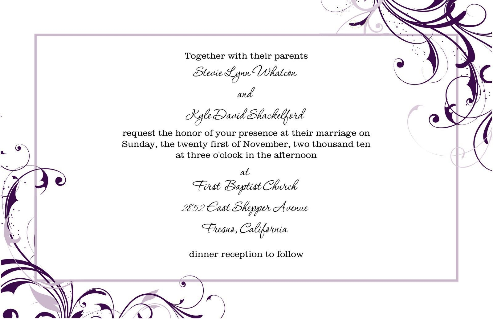 Pinmarina On Wedding Invitation Letter In 2019 | Free Wedding - Free Printable Wedding Invitation Templates For Word