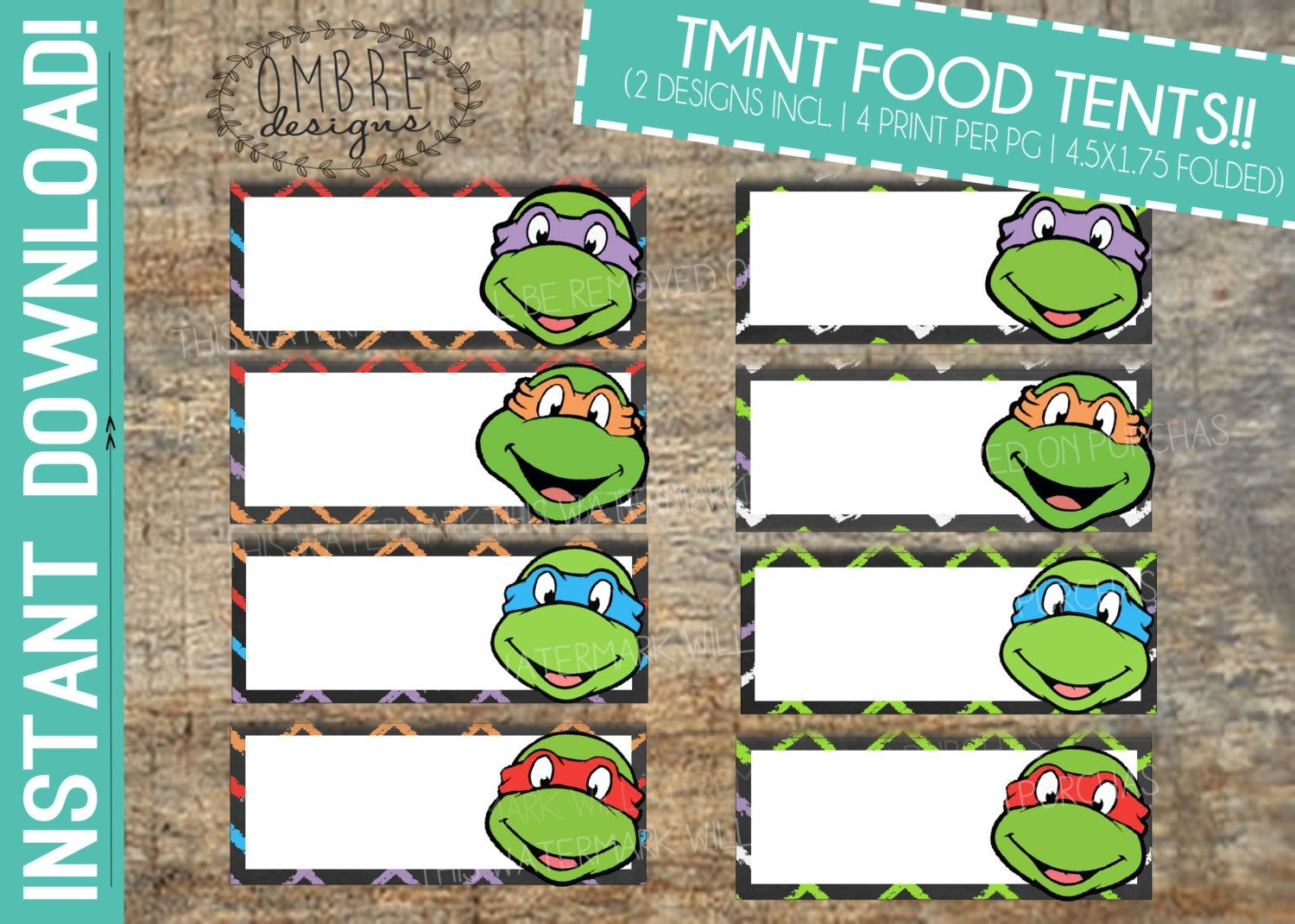 Pinterest - Free Printable Tmnt Food Labels
