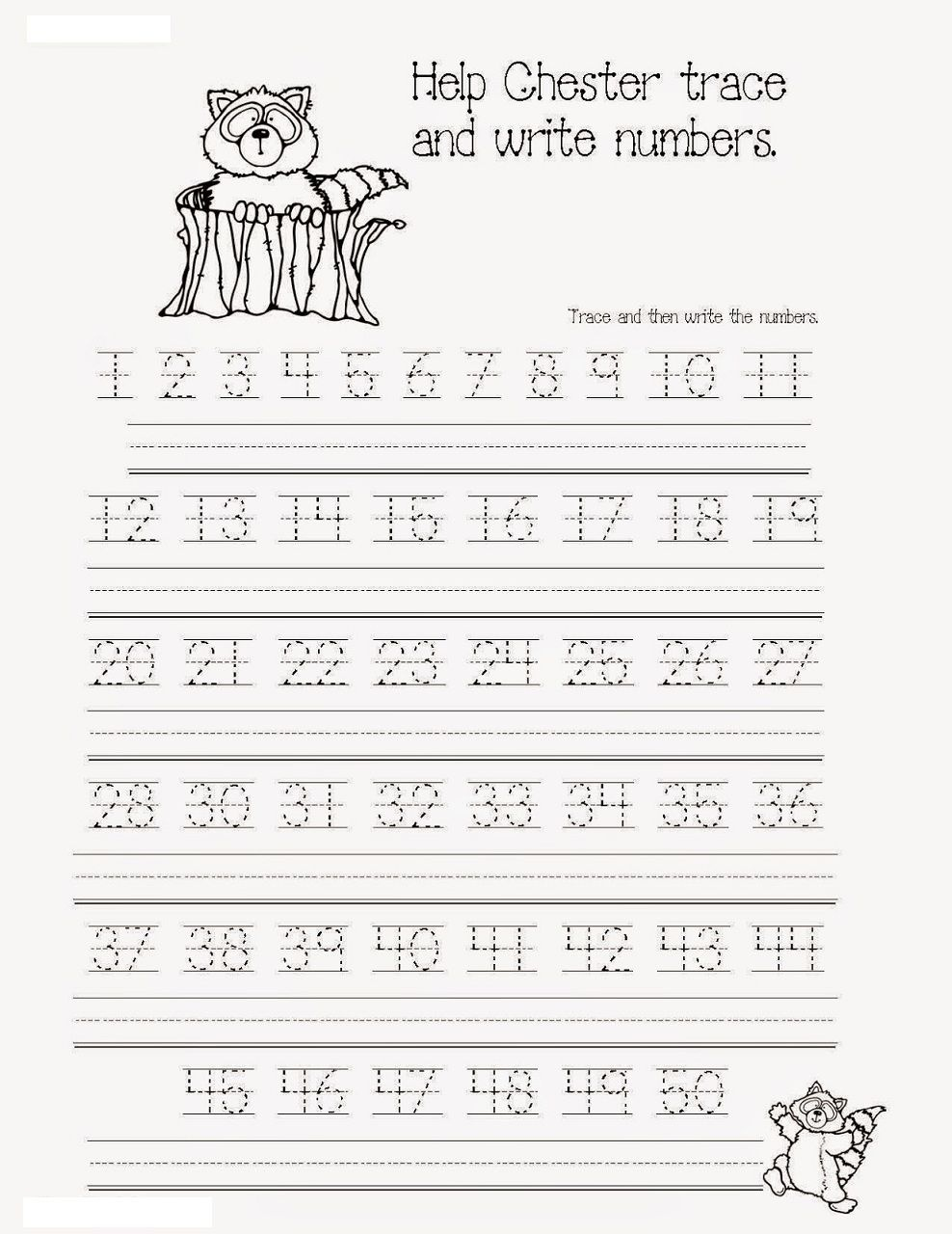 Pinterest - Free Printable Tracing Numbers 1 50