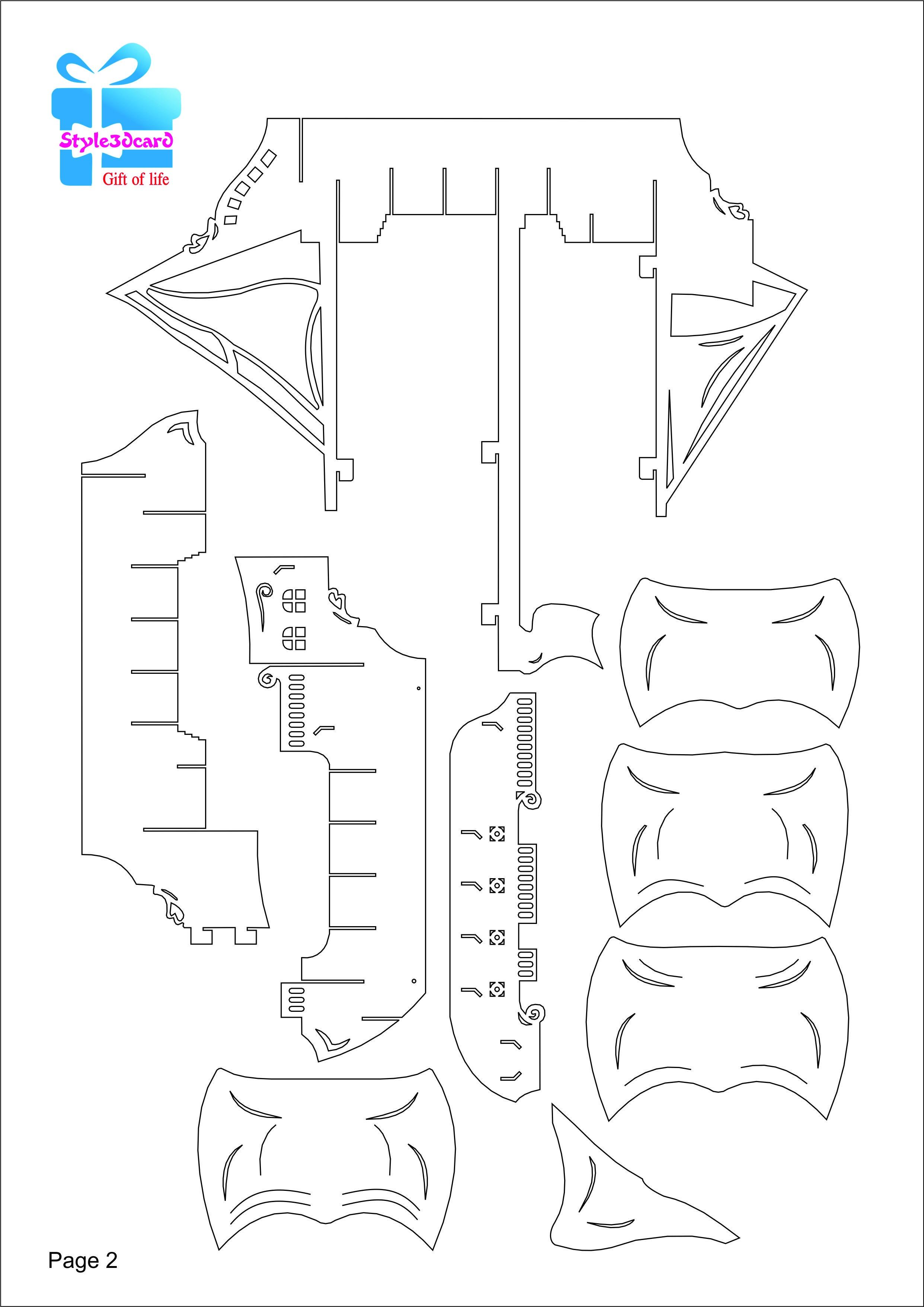 Pirate Ship 3D Pop-Up /kirigami Pattern 3 | Pop-Up I Kirigami - Free Printable Kirigami Pop Up Card Patterns