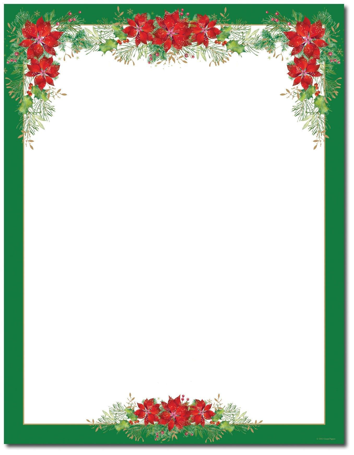 Poinsettia Valance Letterhead   Holiday Papers   Christmas Border - Free Printable Letterhead Borders