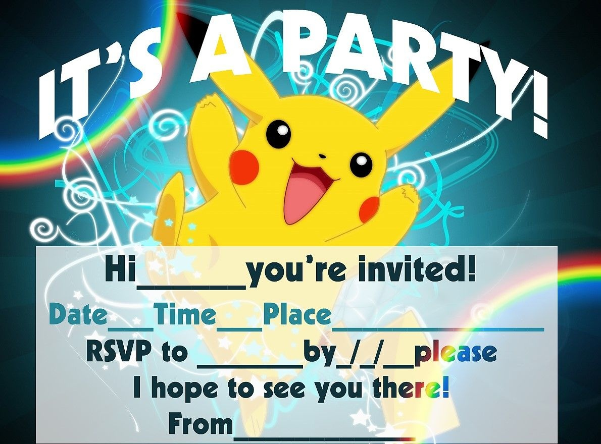 Pokemon Birthday Invitation Templates Free | Pokemon Birthday In - Pokemon Invitations Printable Free
