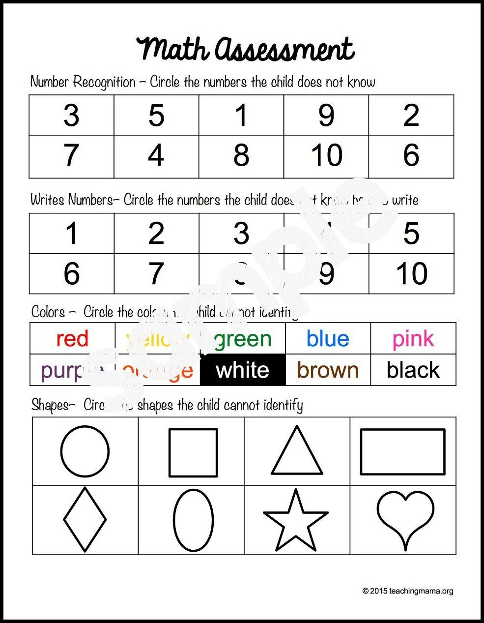 Preschool Assessment Forms - Teaching Mama - Free Printable Pre K Assessment Forms