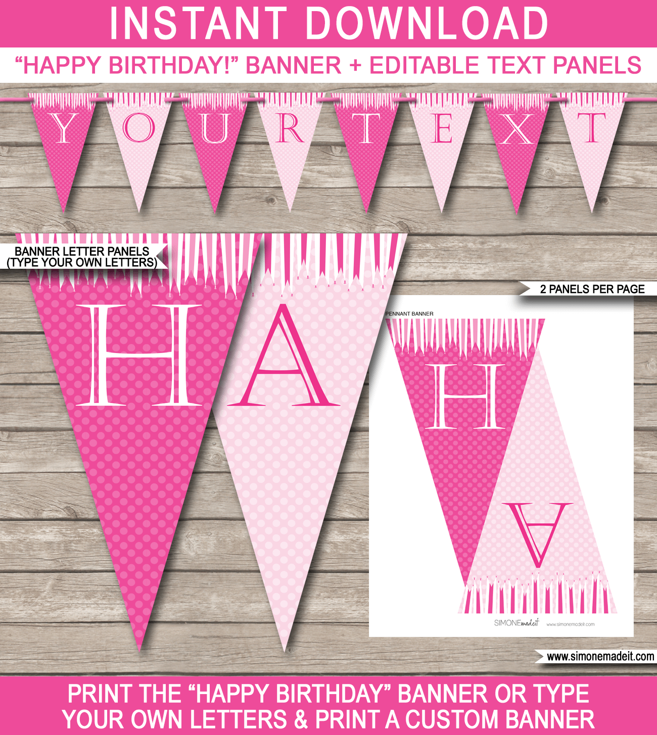 Princess Party Banner Template | Birthday Banner | Editable Bunting - Free Printable Princess Birthday Banner