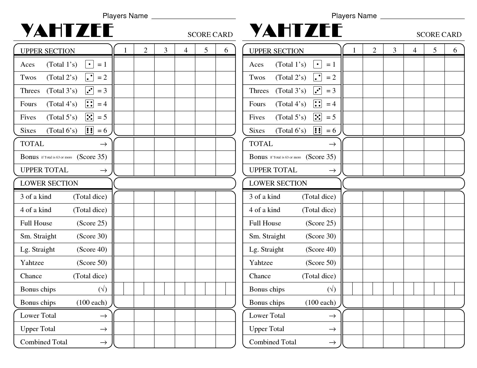 Print Yahtzee Score Sheets Moreover Yatzee Printable Card | Vakantie - Free Printable Yahtzee Score Sheets