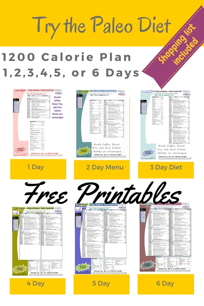 Printable 1200 Calorie Paleo Diet For 6 Days Plus Grocery List - Free Printable 1200 Calorie Diet Menu