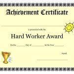 Printable Achievement Certificates Kids | Hard Worker Achievement   Free Printable Blank Certificates Of Achievement