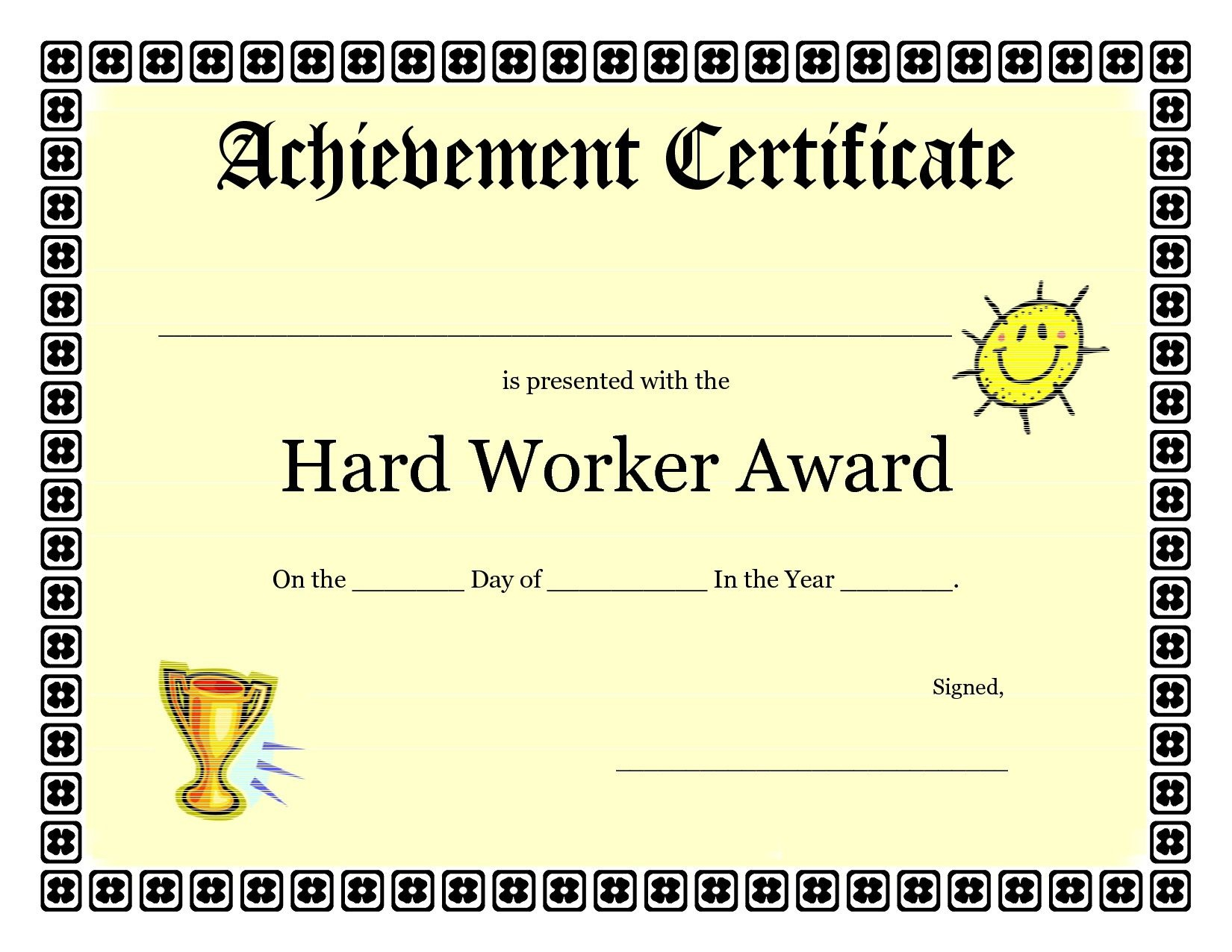 Printable Achievement Certificates Kids | Hard Worker Achievement - Free Printable Blank Certificates Of Achievement