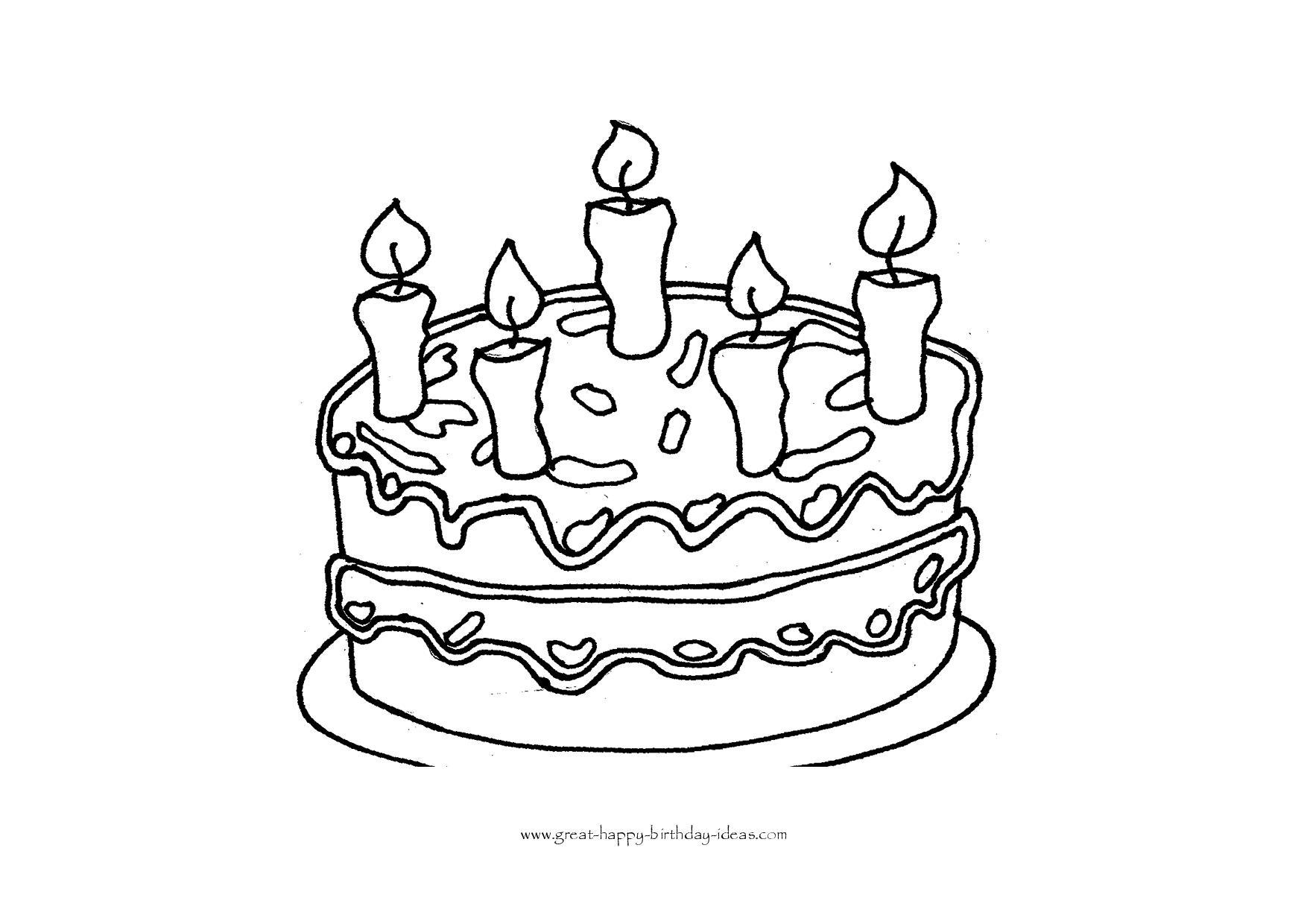 Printable Birthday Coloring Pages - Free Printable Birthday Cake