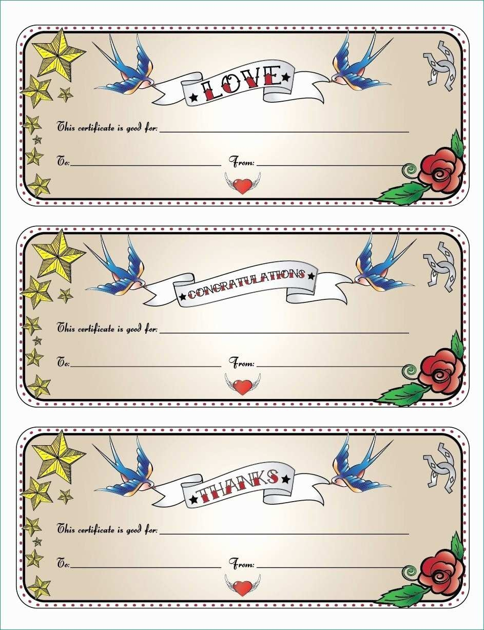 Printable Blank Gift Certificate Template Free Massage Awesome - Free Printable Tattoo Gift Certificates