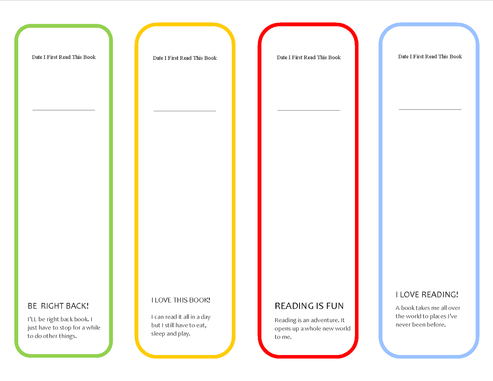 Printable Bookmarks | Printable Bookmarks | Bookmark Template - Free Printable Blank Bookmarks