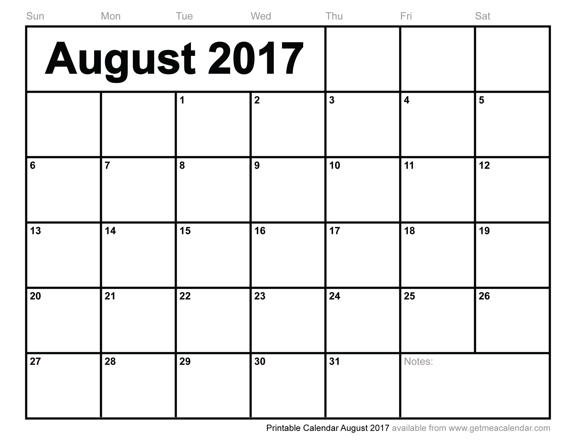 Printable Calendar August 2017 - Free Printable August 2017