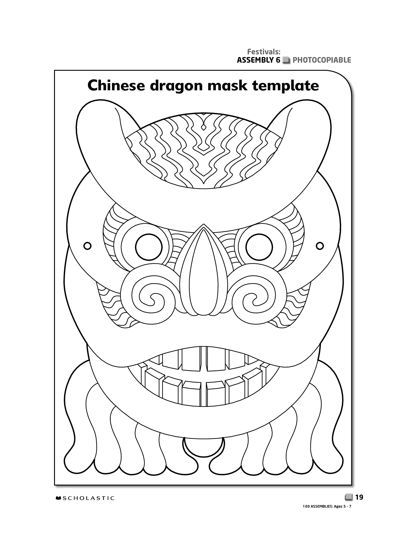 Printable Chinese New Year Masks | Chinese Dragon Mask | Shahida's - Dragon Mask Printable Free