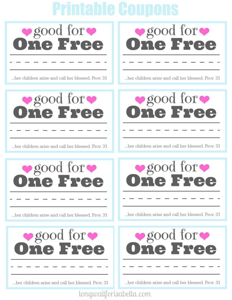 Printable Coupon Book For Mom | Long Wait For Isabella Blog | Books - Free Printable Coupons For Husband