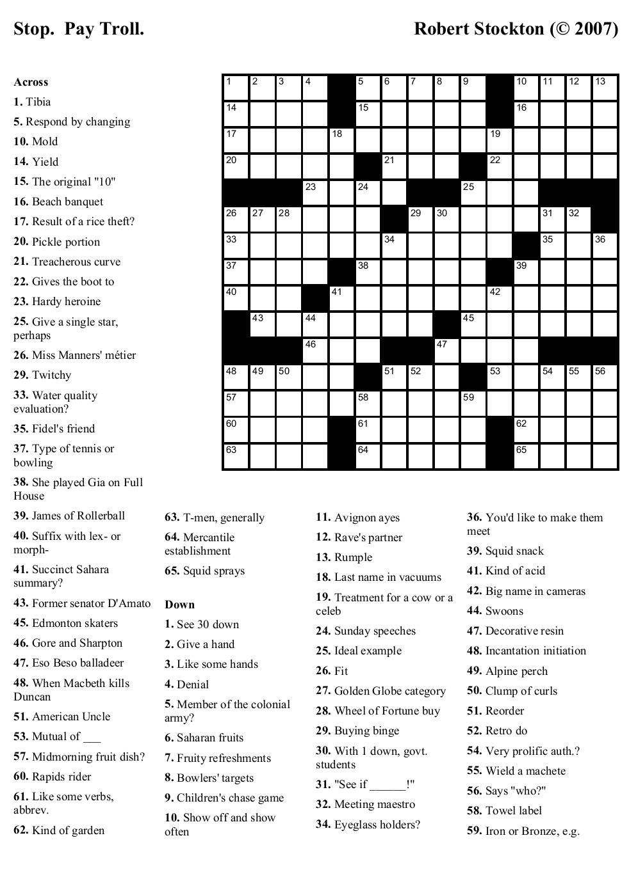 Printable Crosswords About Friendship Trials Ireland - Free Online Printable Crossword Puzzles