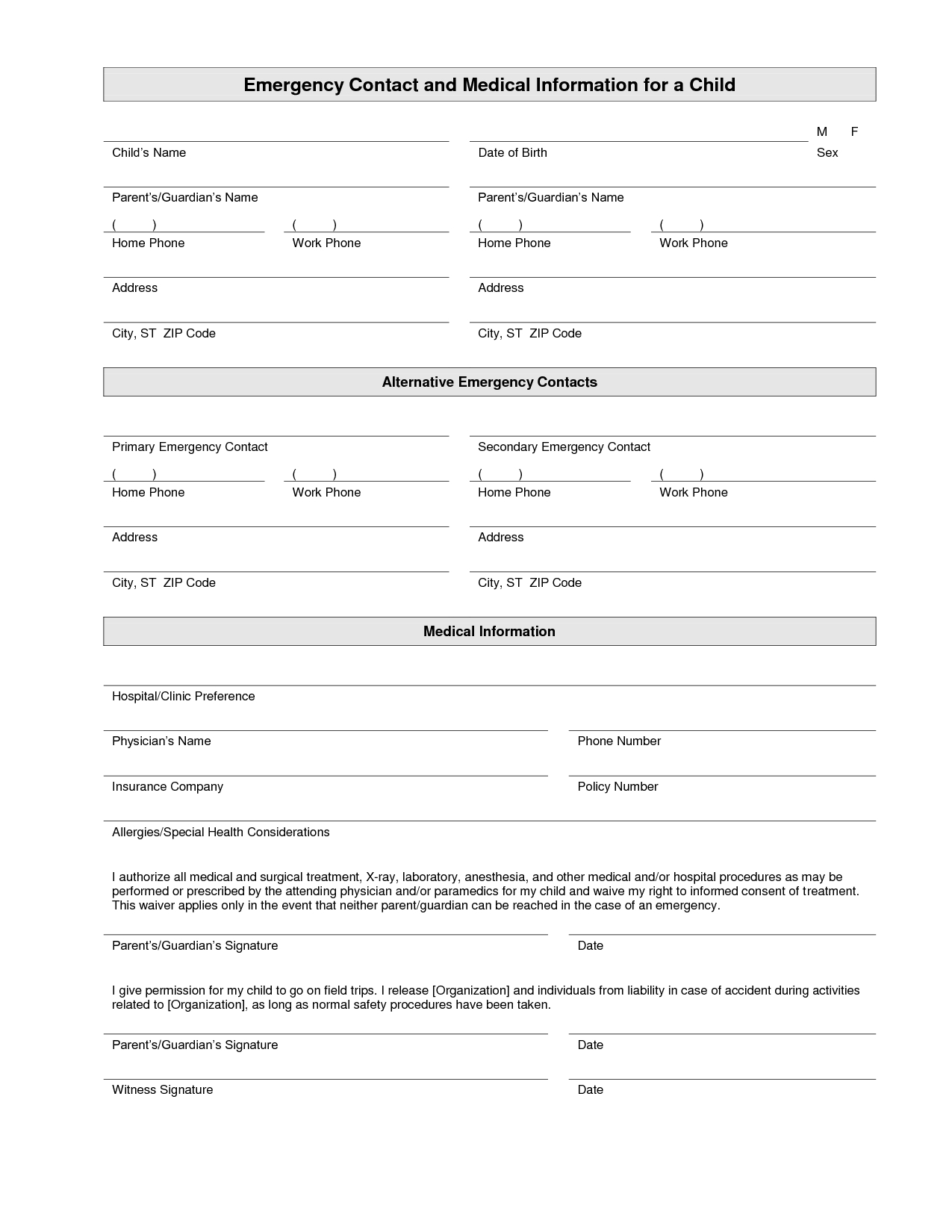 Printable Emergency Contact Form Template | Home Daycare | Emergency - Free Printable Daycare Forms