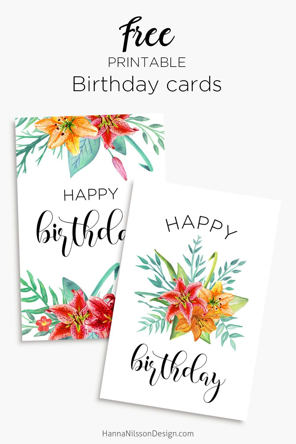 Printable Floral Birthday – Cards, Tags & Gift Box | General | Free - Free Printable Personalized Birthday Cards