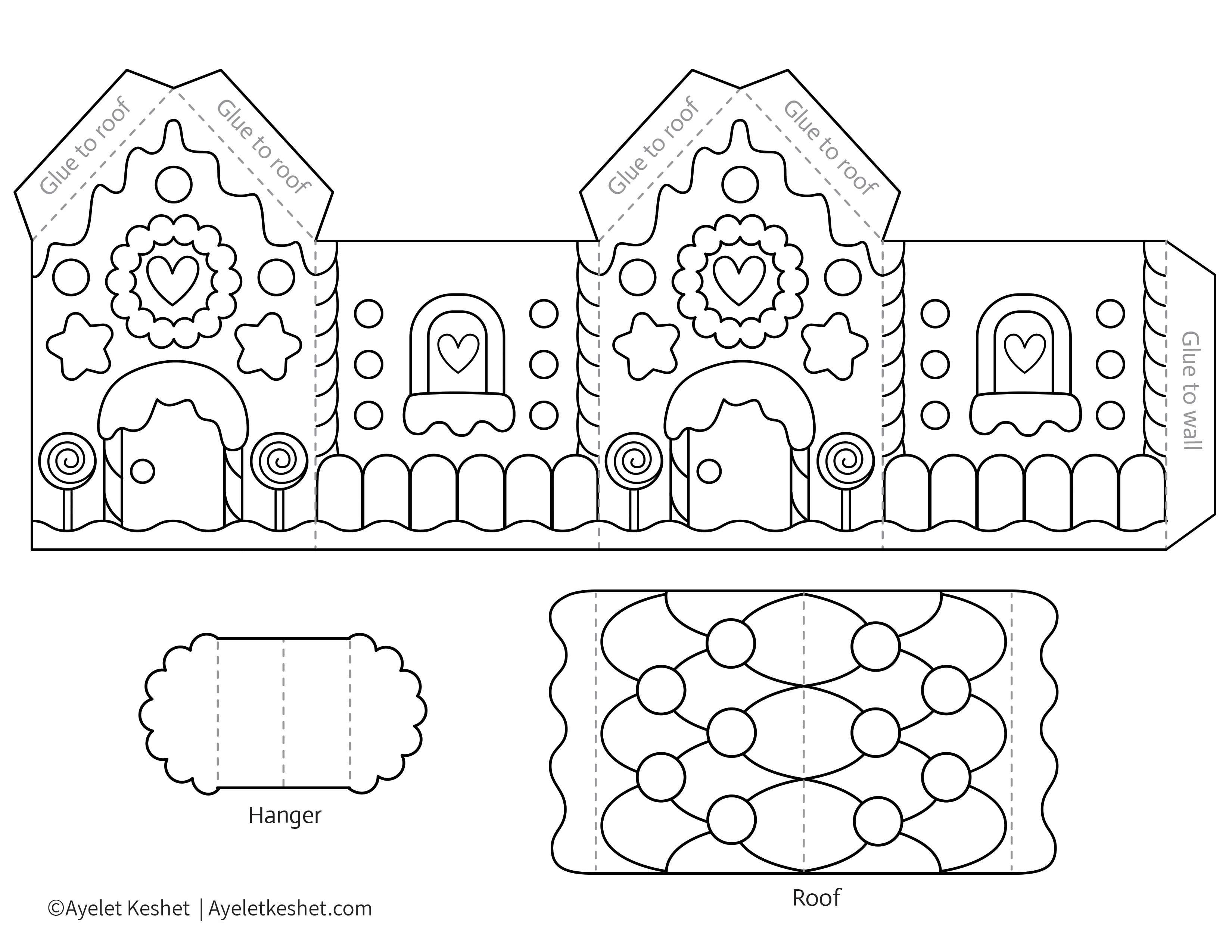 Printable Gingerbread House Template To Color - Ayelet Keshet - Gingerbread Template Free Printable