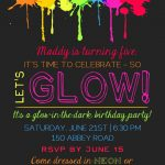 Printable Glow In The Dark Theme Party Invitation   Free Printable Glow In The Dark Birthday Party Invitations
