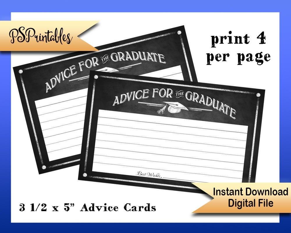 Printable Graduation Advice Cards Advice For Graduate Cards | Etsy - Free Printable Graduation Advice Cards
