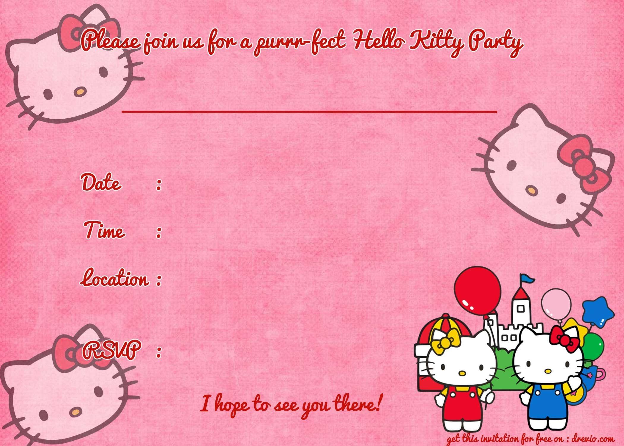 Printable Hello Kitty Birthday Invitation Template   Party   Hello - Free Printable Hello Kitty Baby Shower Invitations
