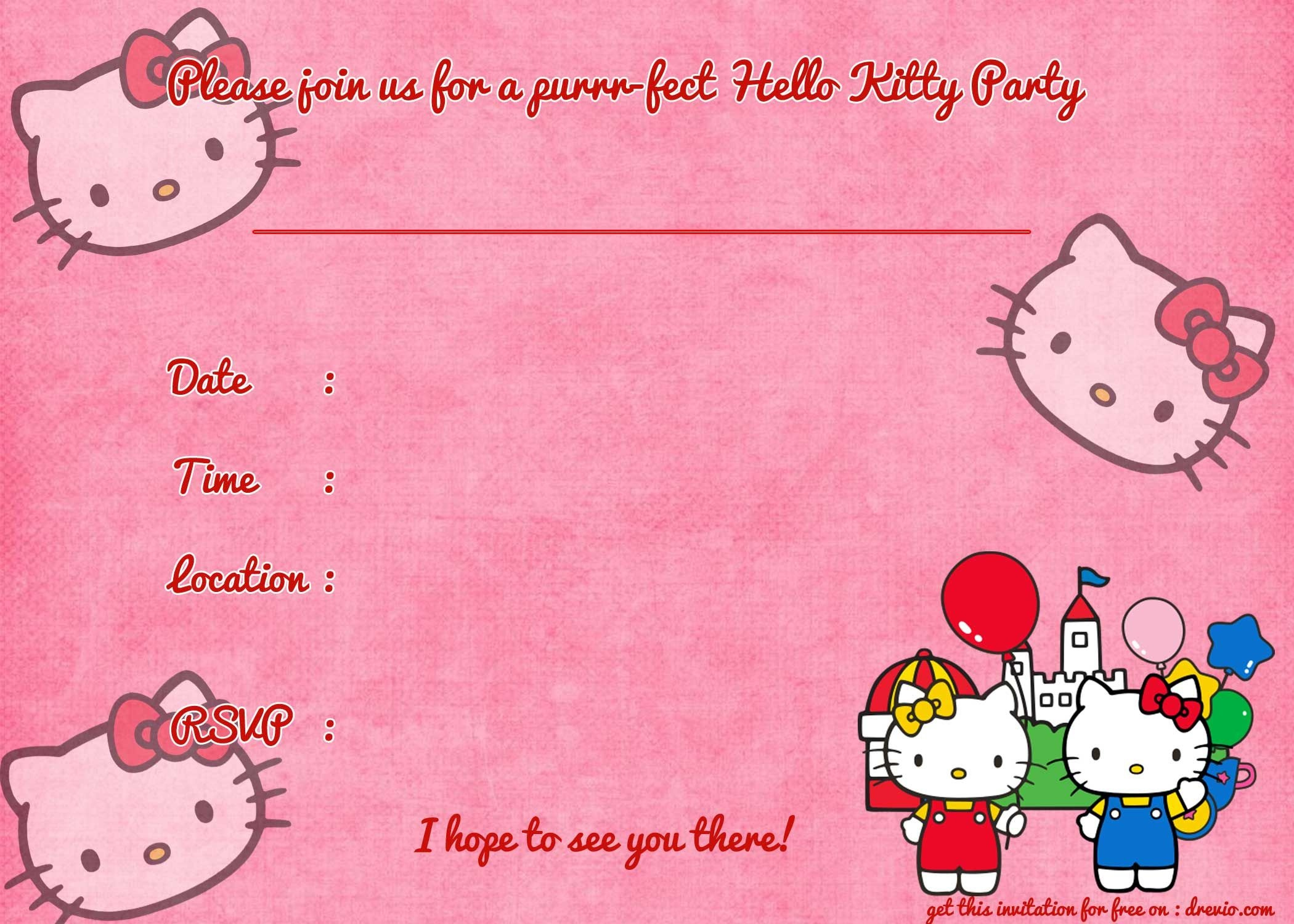 Printable Hello Kitty Birthday Invitation Template | Party | Hello - Hello Kitty Birthday Card Printable Free