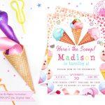 Printable Ice Cream Party Invitation Girl Girl Ice Cream | Etsy   Ice Cream Party Invitations Printable Free