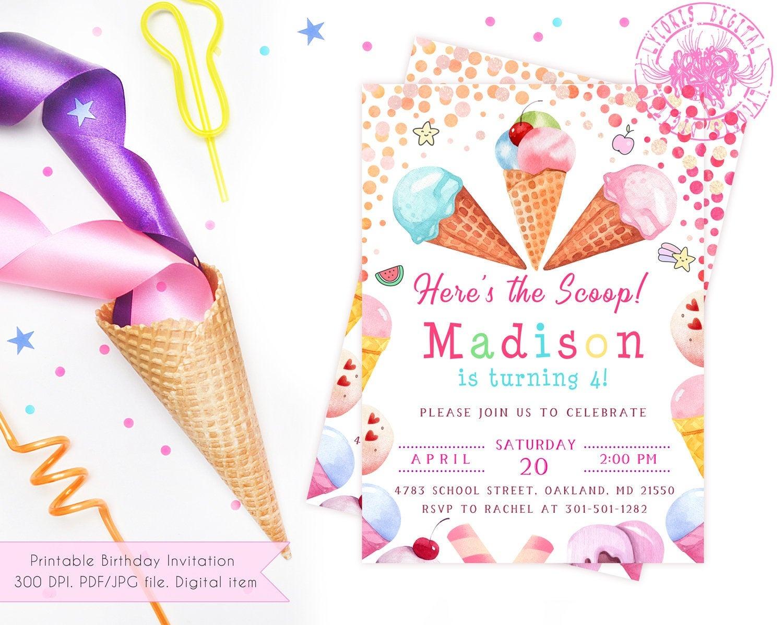 Printable Ice Cream Party Invitation Girl Girl Ice Cream | Etsy - Ice Cream Party Invitations Printable Free