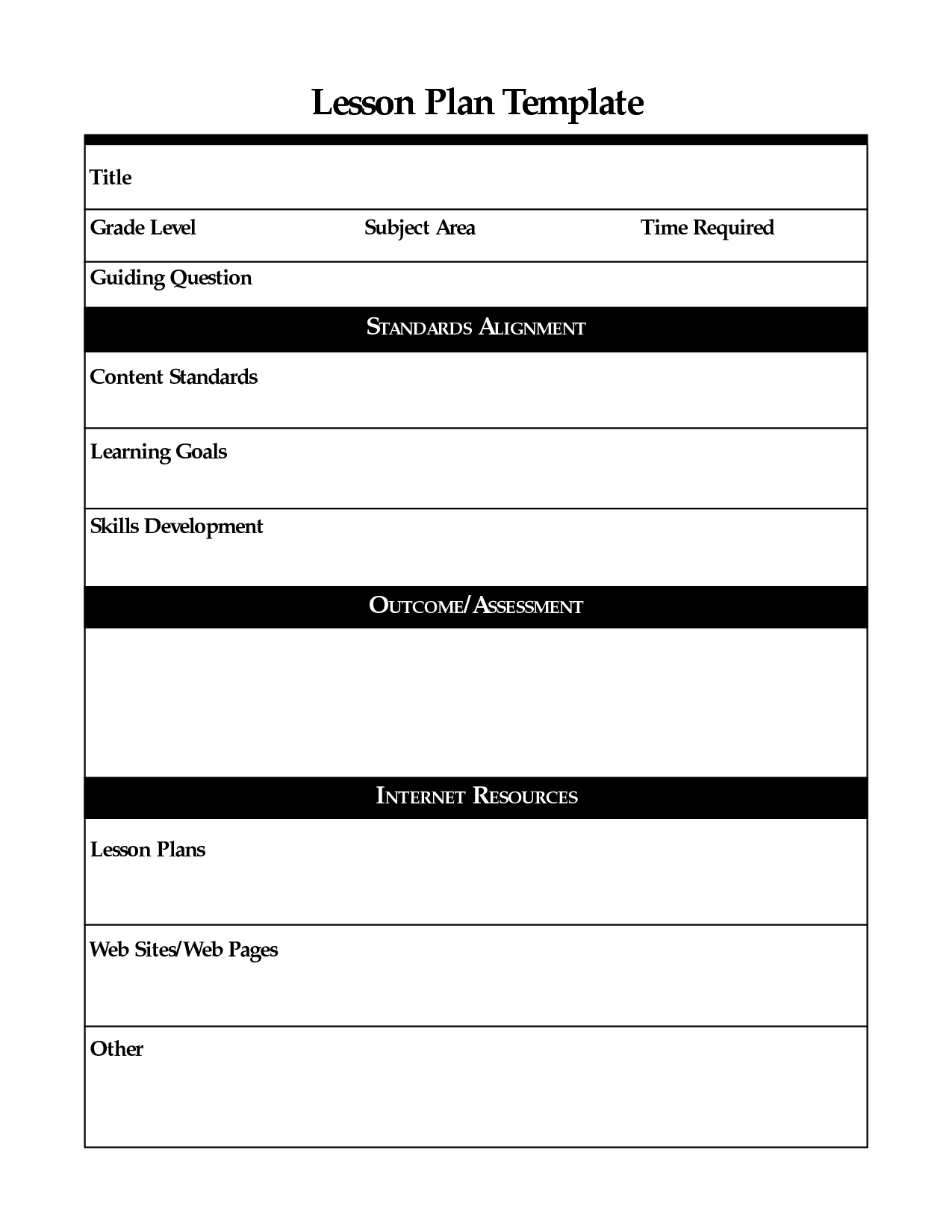 Printable Lesson Plan Template, Free To Download - Free Printable Lesson Plan Template Blank