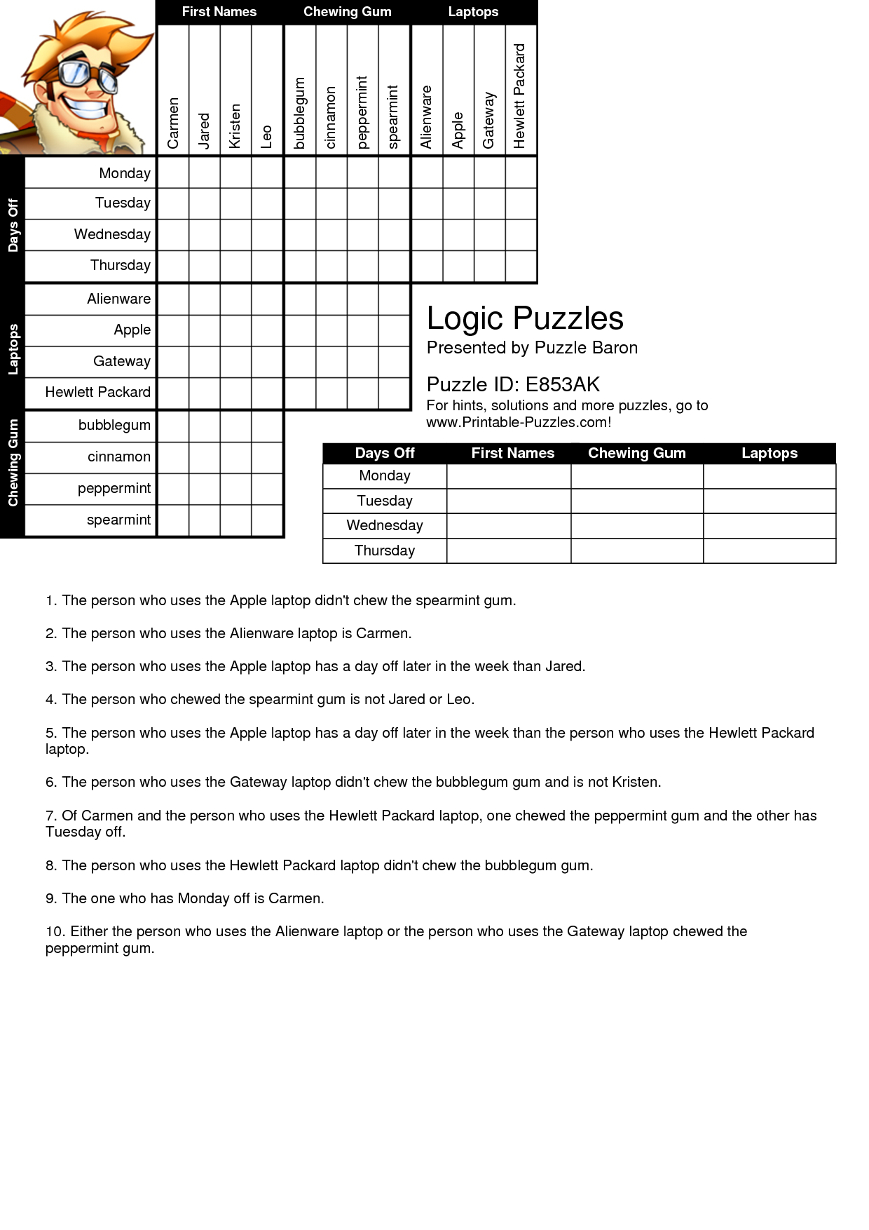 Printable Logic Puzzles Bnuauypi | Children's Arts & Crafts | Puzzle - Free Printable Logic Puzzles For High School Students