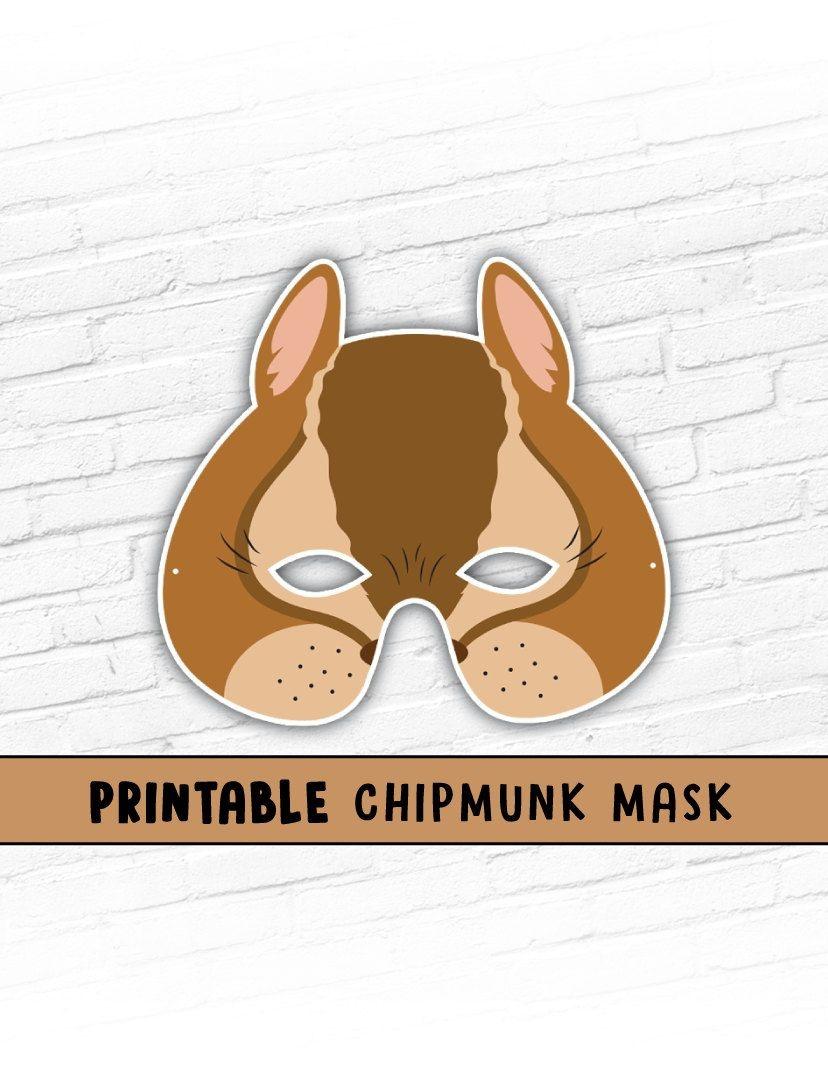 Printable Mask, Halloween, Animal Mask, Chipmunk Mask, Alvin - Free Printable Chipmunk Mask