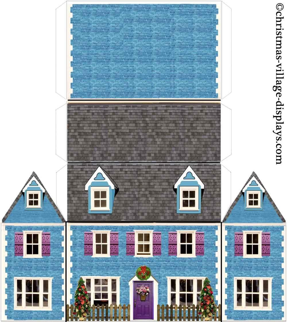 Printable Model Card Houses: Christmas Village Displays - Free Printable Model Railway Buildings