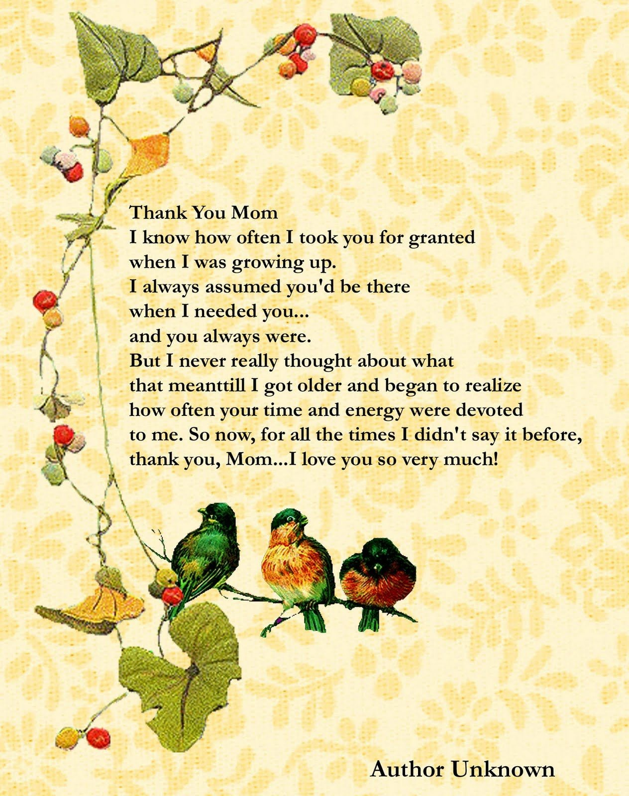 Printable Mother's Day Poems | Free Mothers Day Digital Card - Free Printable Mothers Day Poems