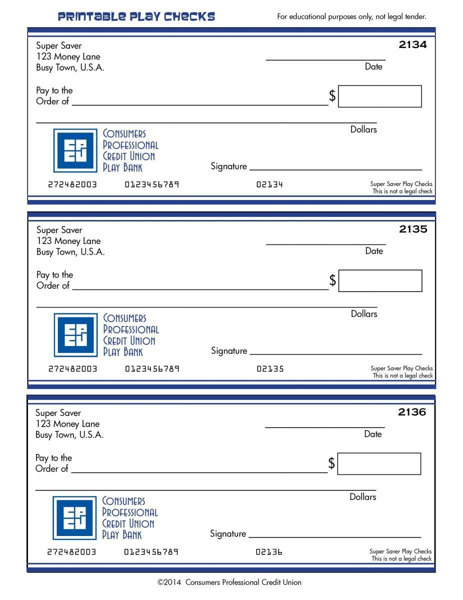Printable Play Checks. Consumers Professional Credit Union. | Family - Free Printable Play Checks