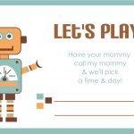 Printable Play Date Card | Printables | Kids Cards, Fun Projects For   Free Printable Play Date Cards