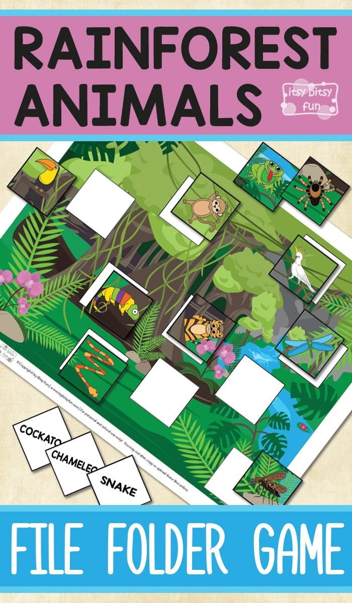 Printable Rainforest Animals File Folder Game - Itsy Bitsy Fun - Free Printable Folder Games