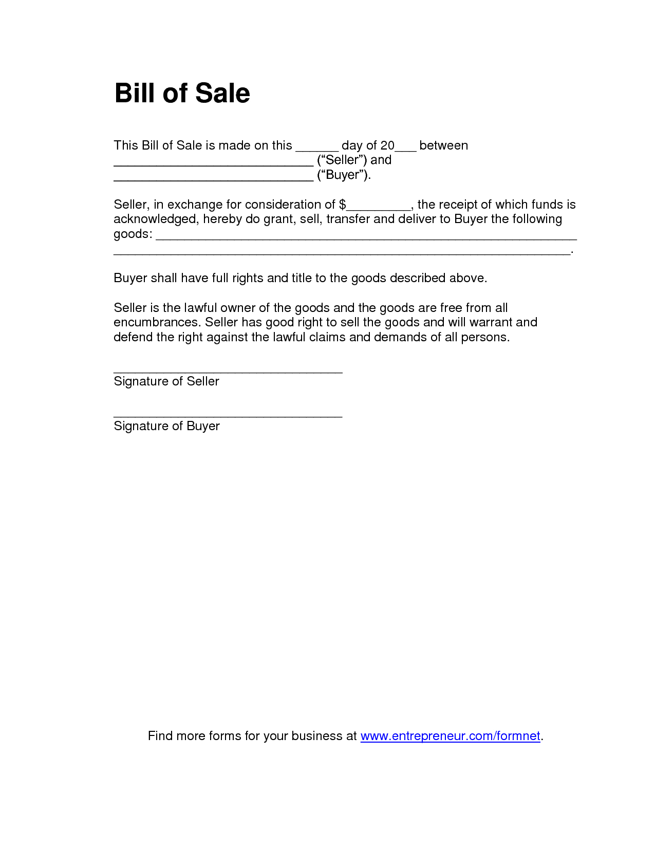 Printable Sample Bill Of Sale Templates Form | Legal Document Online - Find Free Printable Forms Online