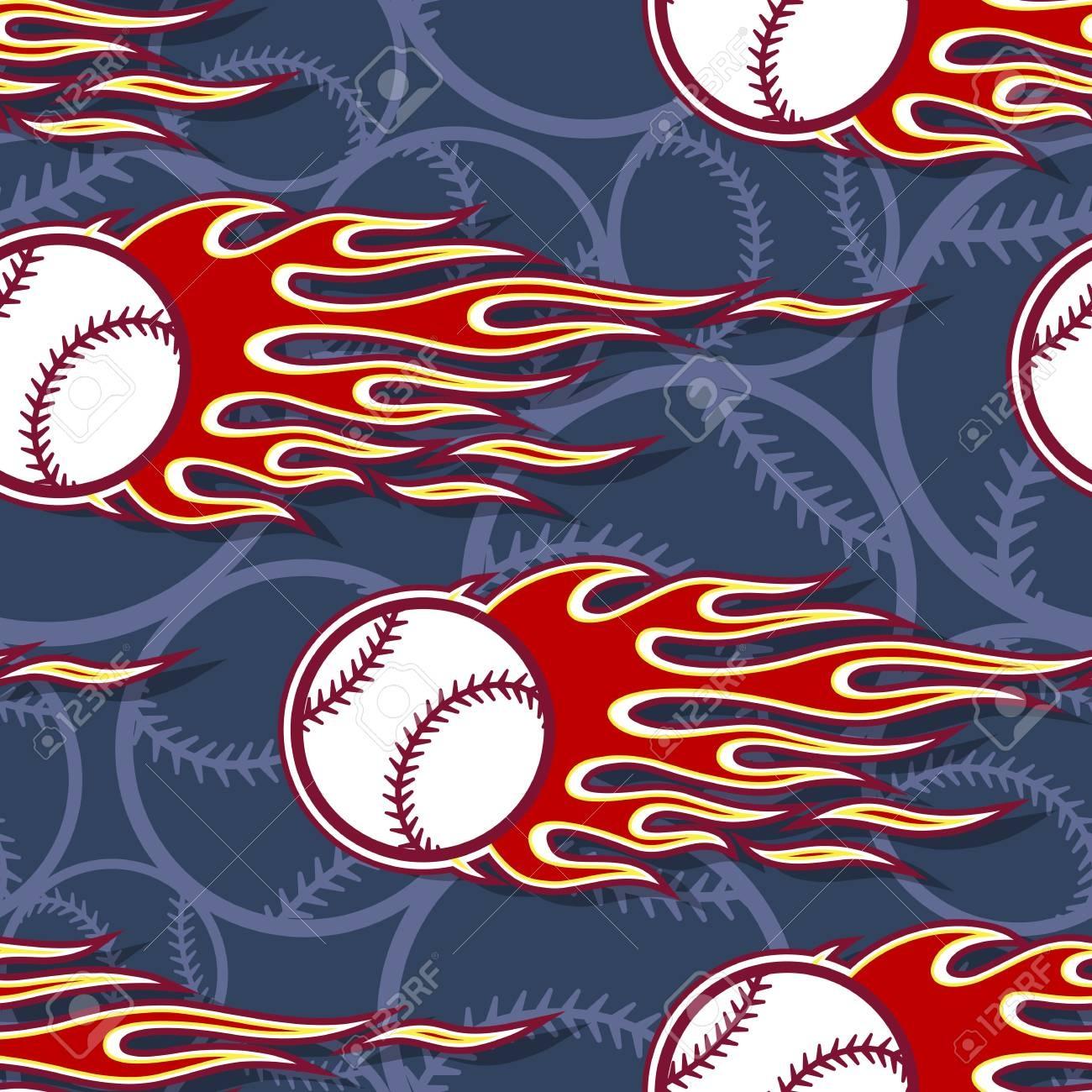 Printable Seamless Pattern With Baseball Softball Ball And Hotrod - Free Printable Softball Pictures