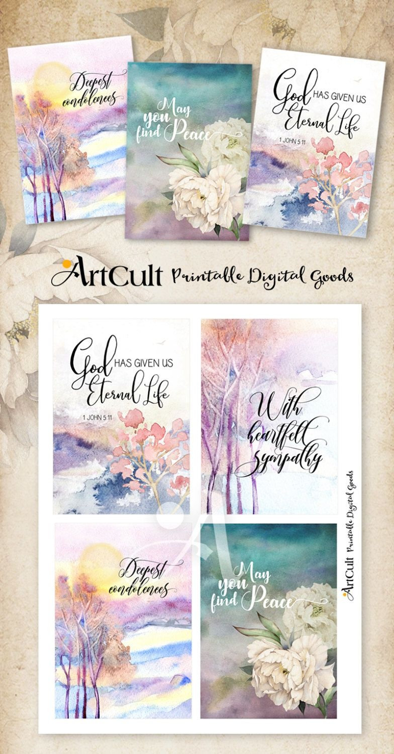 "Printable Sympathy Condolence Cards No.2 Digital Download 3.5""x5 - Free Printable Sympathy Verses"