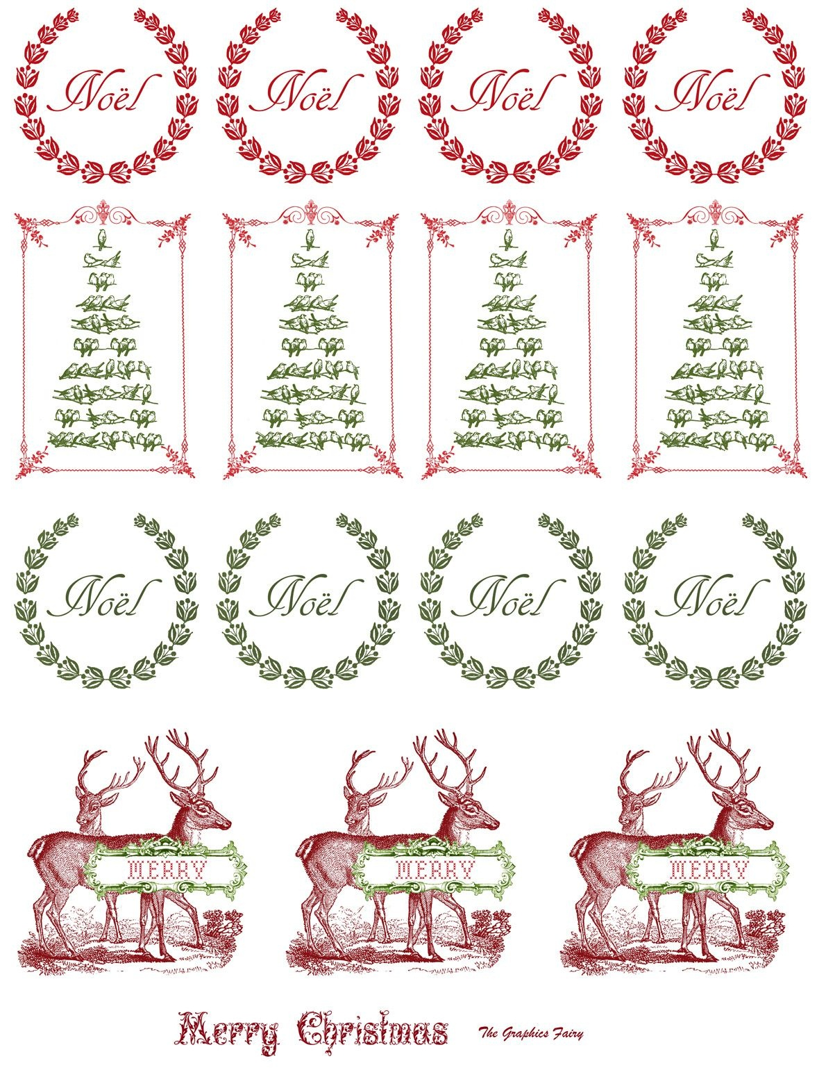 Printable - Vintage Christmas Stickers | Merkimiðar | Christmas - Free Printable Holiday Stickers