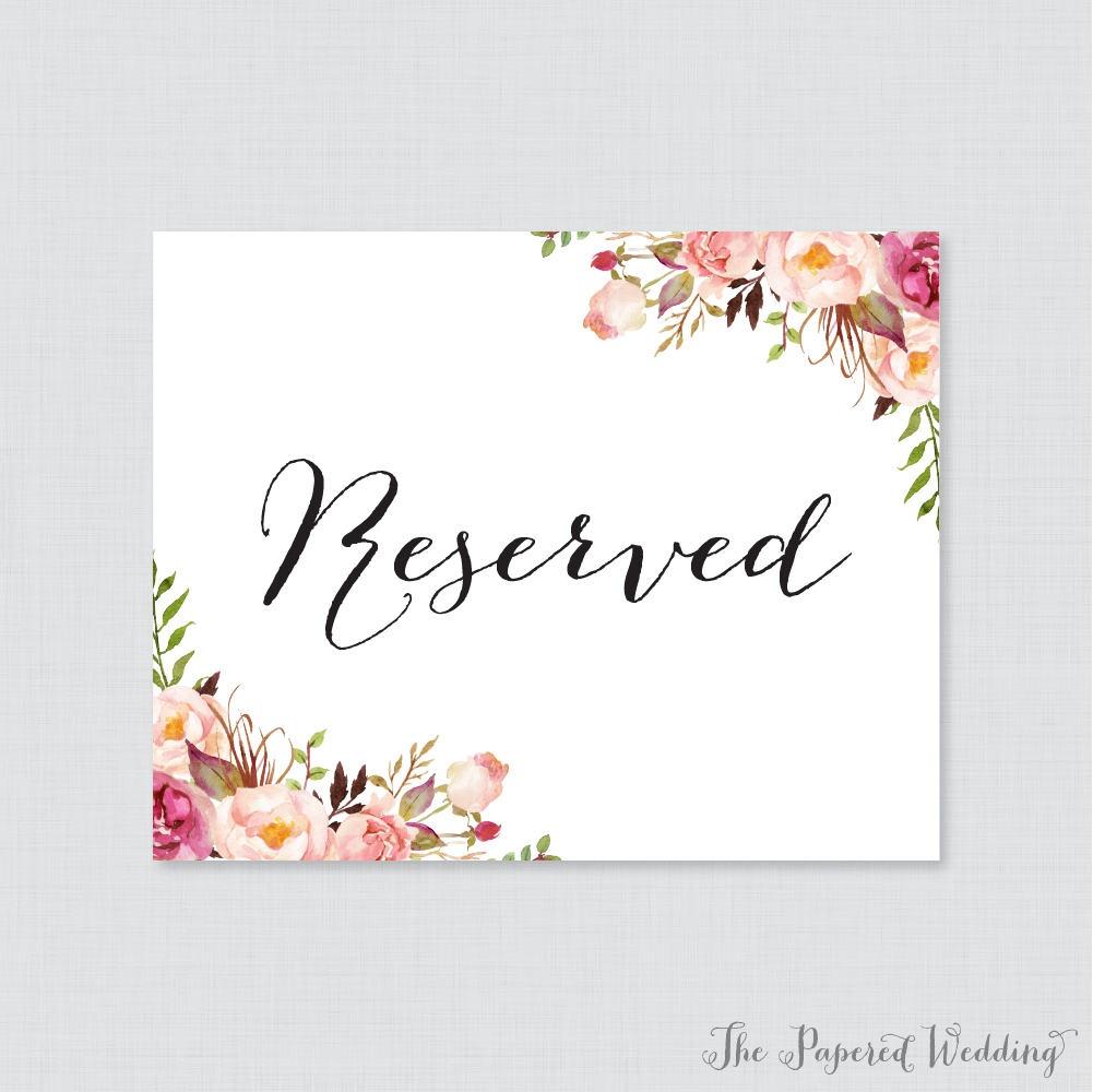 Printable Wedding Reserved Signs Pink Floral Reserved | Etsy - Free Printable Reserved Table Signs
