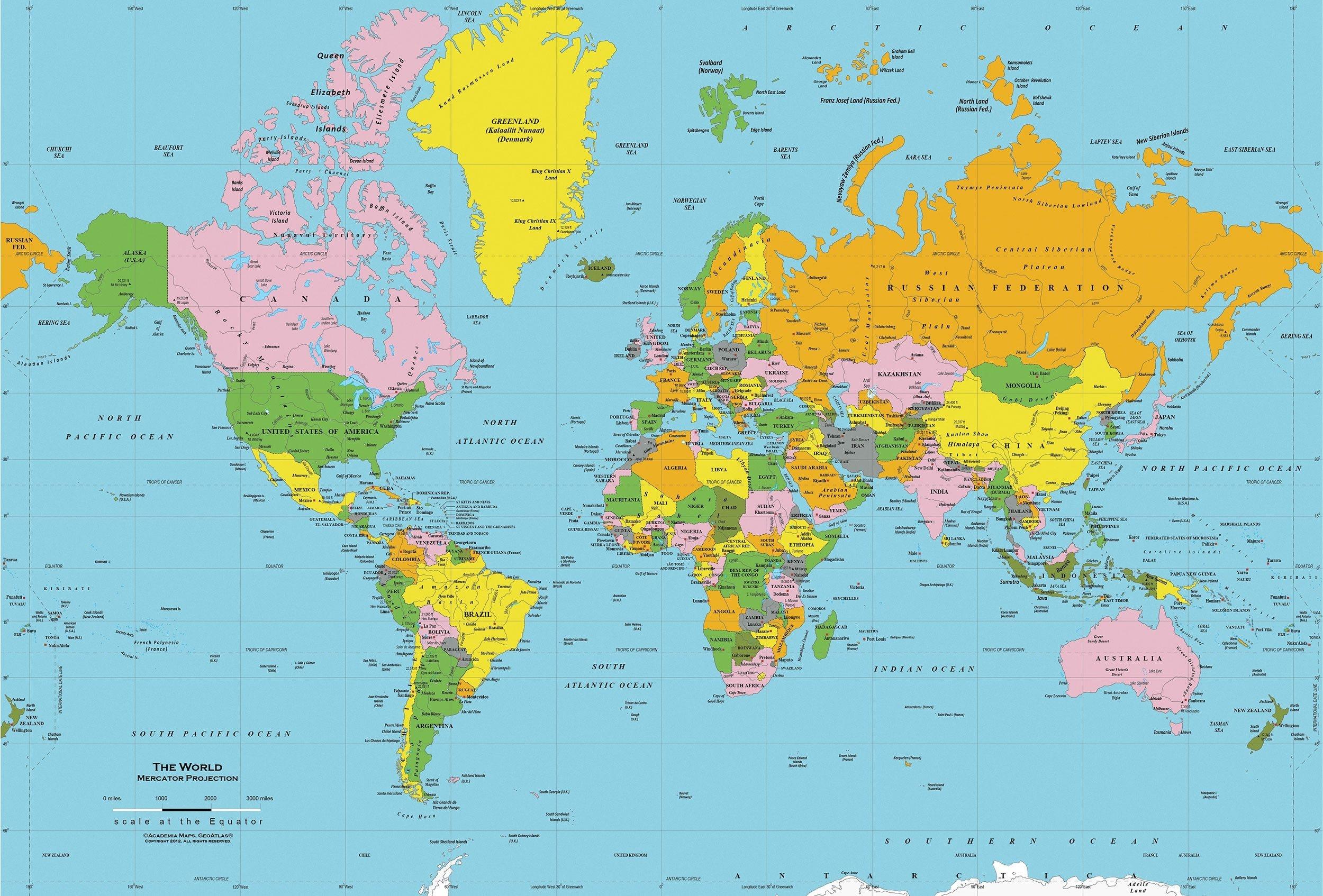 Printable World Map Free | Sitedesignco - Free Printable World Map