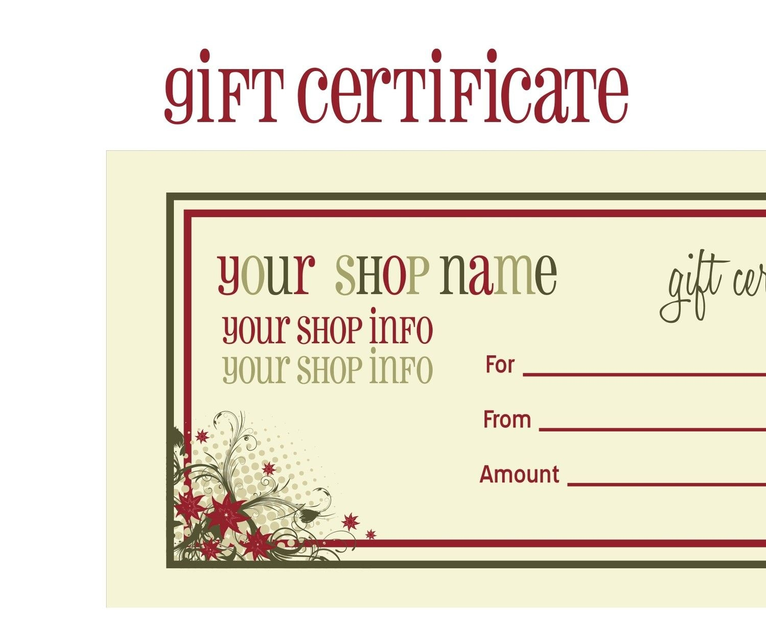 Printable+Christmas+Gift+Certificate+Template | Massage Certificate - Free Printable Gift Certificates For Hair Salon