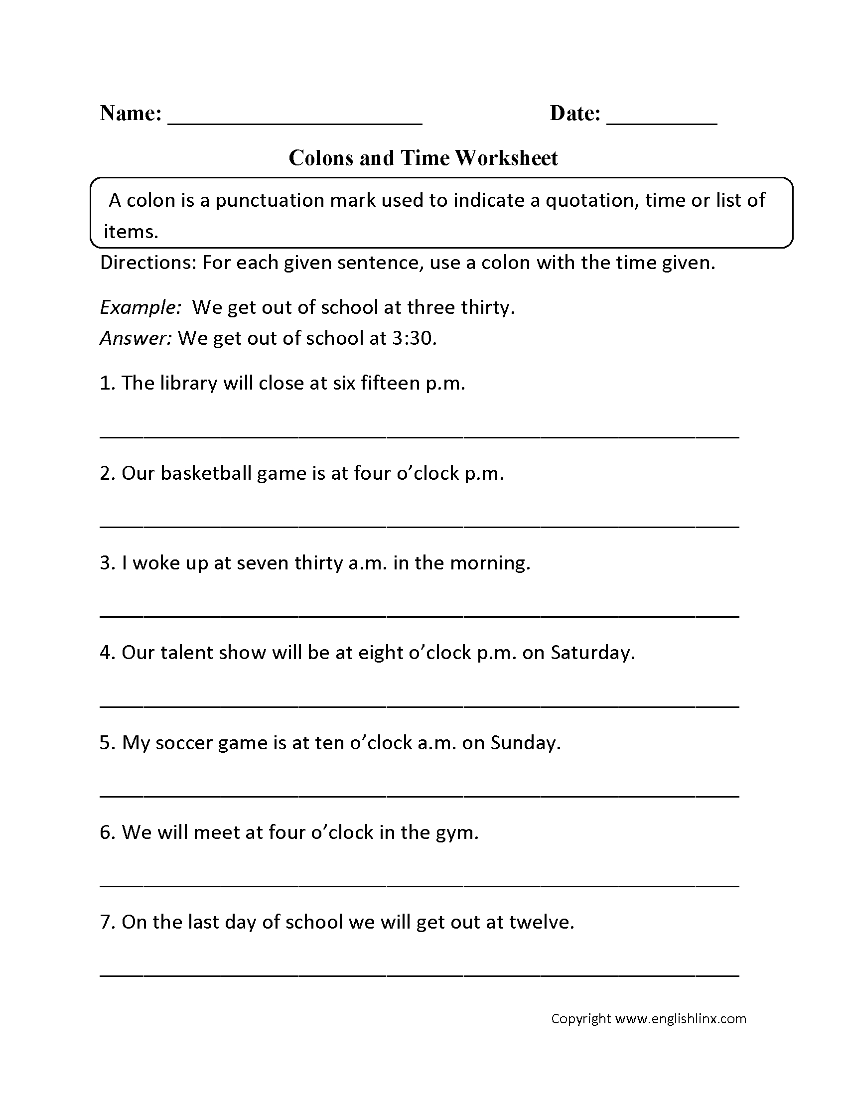 Punctuation Worksheets | Colon Worksheets - Free Printable Third Grade Grammar Worksheets