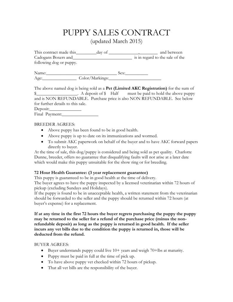 Puppy Sales Contract – Etaufal - Free Printable Puppy Sales Contract