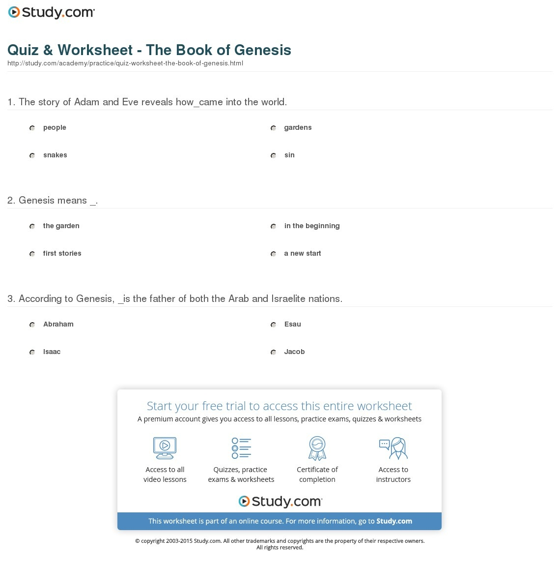 Quiz & Worksheet - The Book Of Genesis | Study - Free Printable Bible Study Lessons Genesis