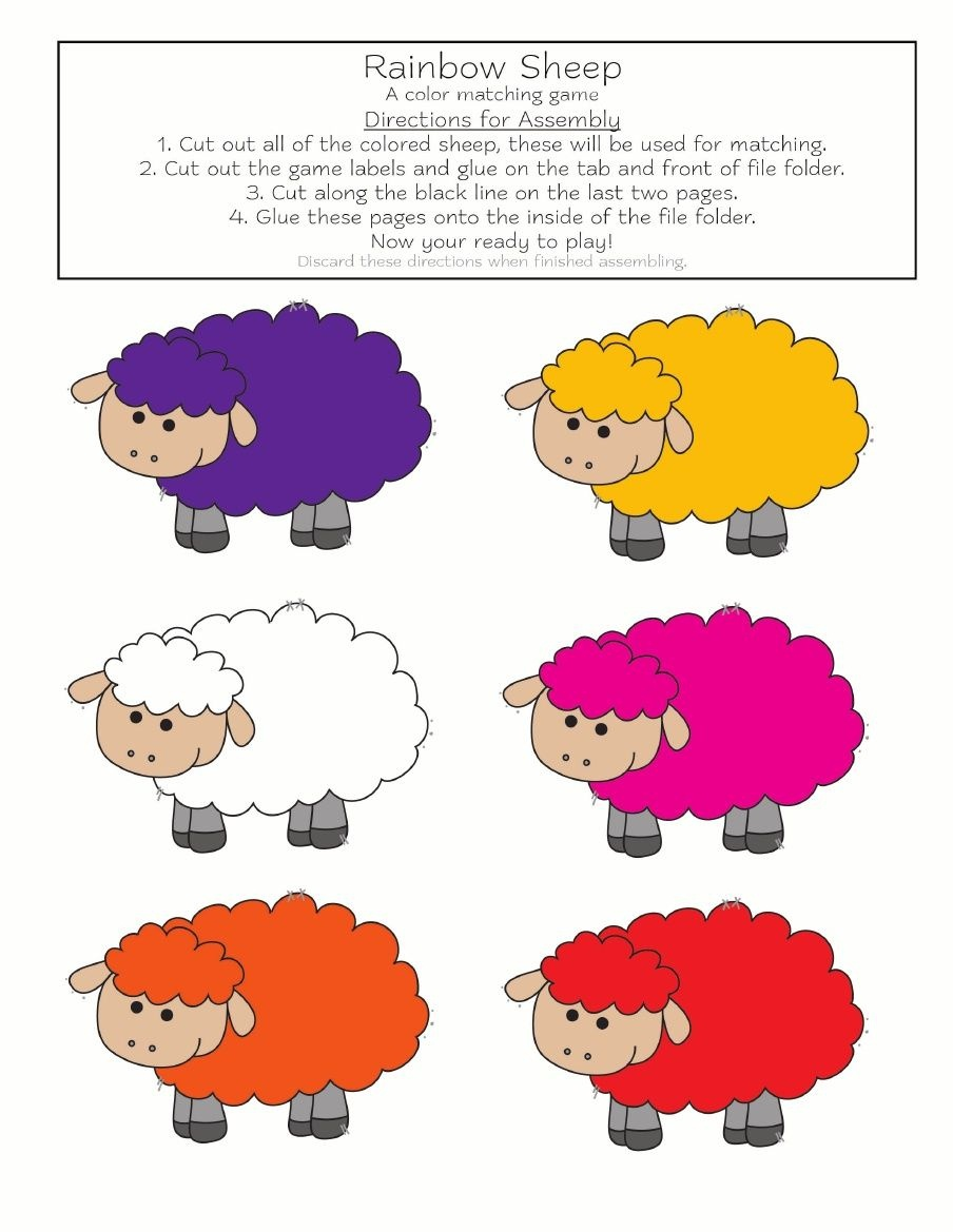 Rainbow Sheep Color Matching Game {Free Printable} #colors | For - File Folder Games For Toddlers Free Printable