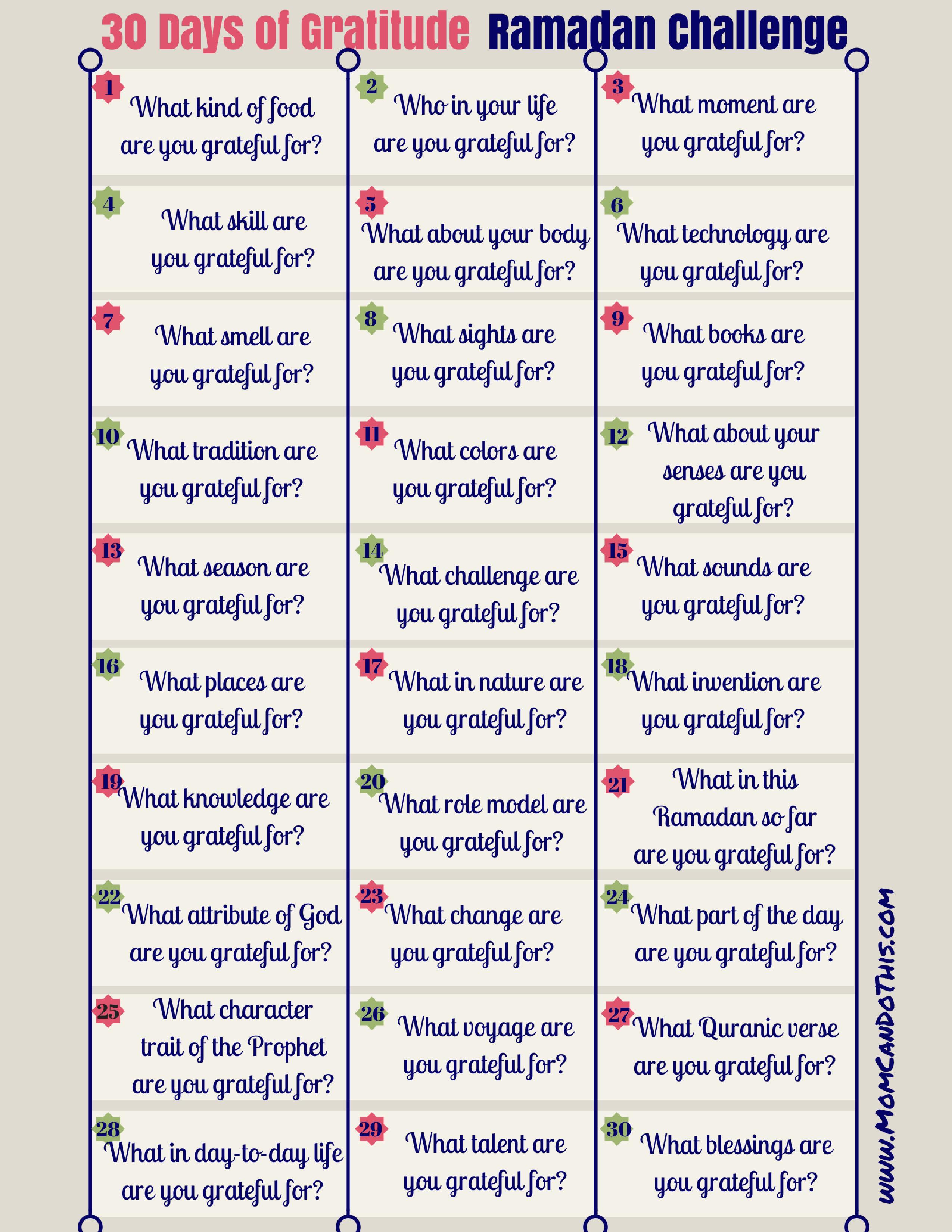 Ramadan Gratitude Challenge - 30 Day Challenge. Make Ramadan Count! - Free Printable Gratitude Worksheets