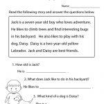 Reading Comprehension Practice Worksheet Printable | Joys Of   Free Printable English Reading Worksheets For Kindergarten