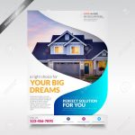 Real Estate Flyer Template, Brochure With Shape Royalty Free   Free Printable Real Estate Flyer Templates